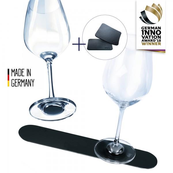 Wein Vorteils-Set (2 Magnet-Weingläser + 2 Metall-Nano-Gelpads + Metall-Leiste 25 cm BLACK)