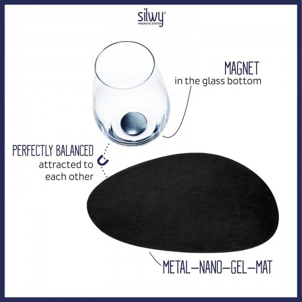 Metall-Nano-Gel-Platzset groß im Leder-Look BLACK