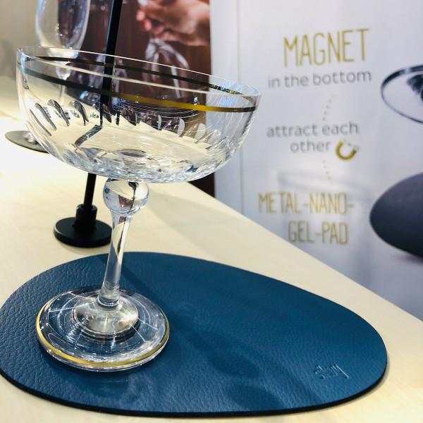 Metall-Nano-Gel-Platzset mittelgroß mit Leder-Coating BLUE