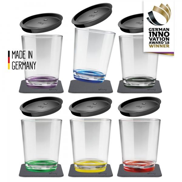 Magnet-Kunststoff Trinkbecher (6er Set + Deckel), Multicolour