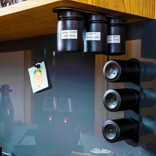 Feinkost-Magnetgläser inkl. Metall-Leiste - ALL BLACK
