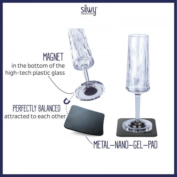 Magnet-Kunststoffgläser SEKT (6er Set) Hightech