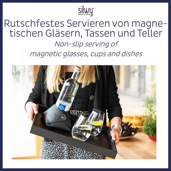 Metall-Tablett im Leder-Look BLACK