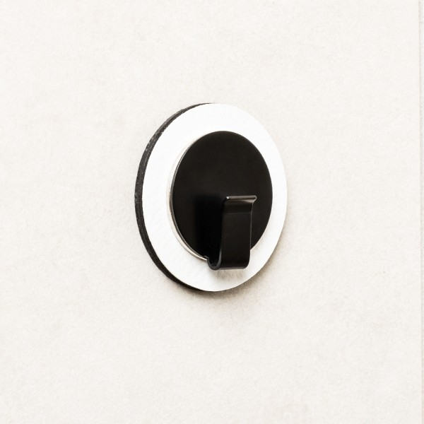 "Magnet-Haken ""CLEVER"" BLACK inkl. Metall-Nano-Gel-Pad WHITE"