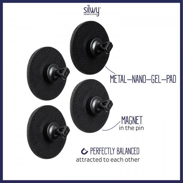 Magnet-Pins FLEX (4er-Set) inkl. Pads BLACK