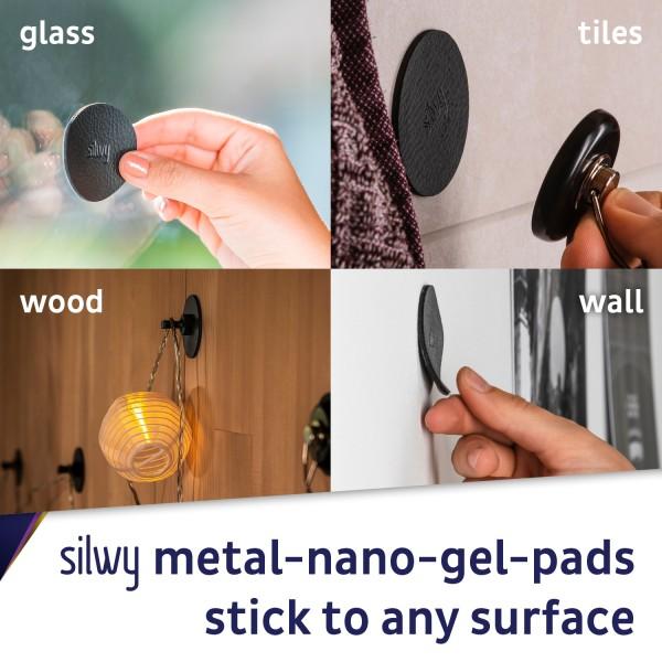 Metall-Nano-Gel-Pads 5 cm BLACK, 4er-Set