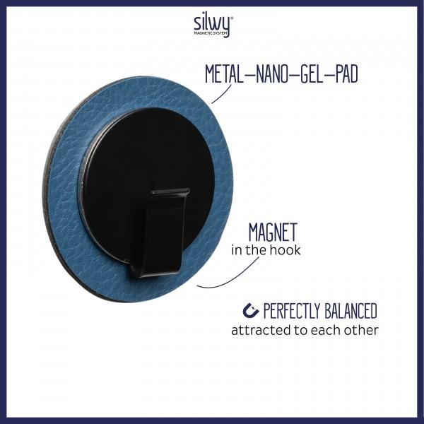 Magnet-Haken CLEVER BLACK inkl. Pad BLUE
