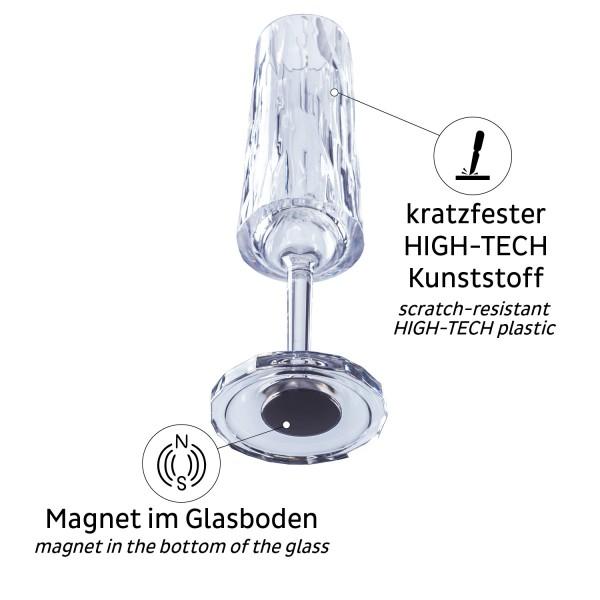 Magnet-Kunststoffgläser SEKT (6er-Set)