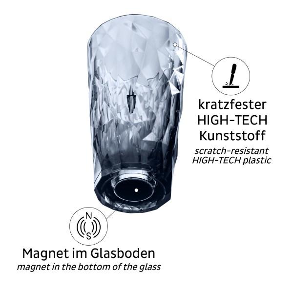 Magnet-Kunststoffgläser LONGDRINK (6er-Set) GREY