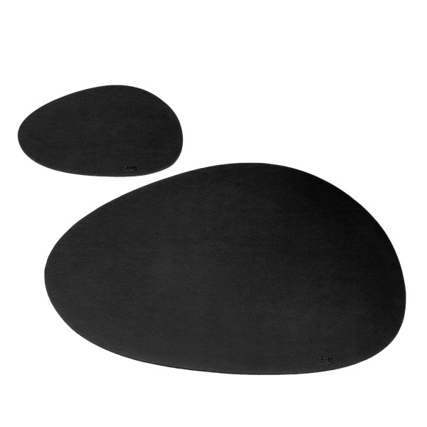 Metall-Nano-Gel-Platzset mittelgroß im Leder-Look BLACK