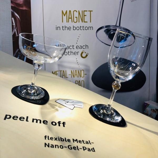 Metall-Nano-Gel-Pads (freie Form) mit Leder-Coating BLUE