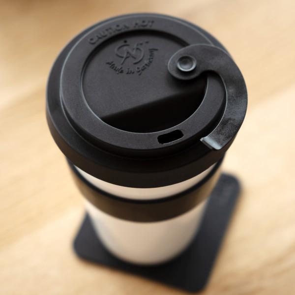 Porzellan TO-GO-CUP inkl. Untersetzer BLACK