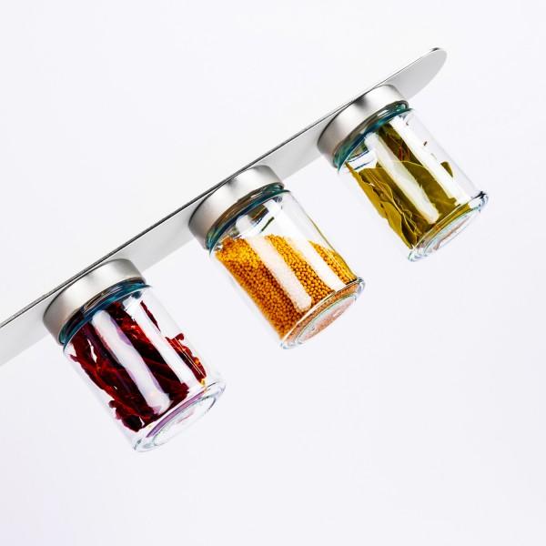 Feinkost-Magnetgläser inkl. Metall-Leiste - WHITE & CLASSY