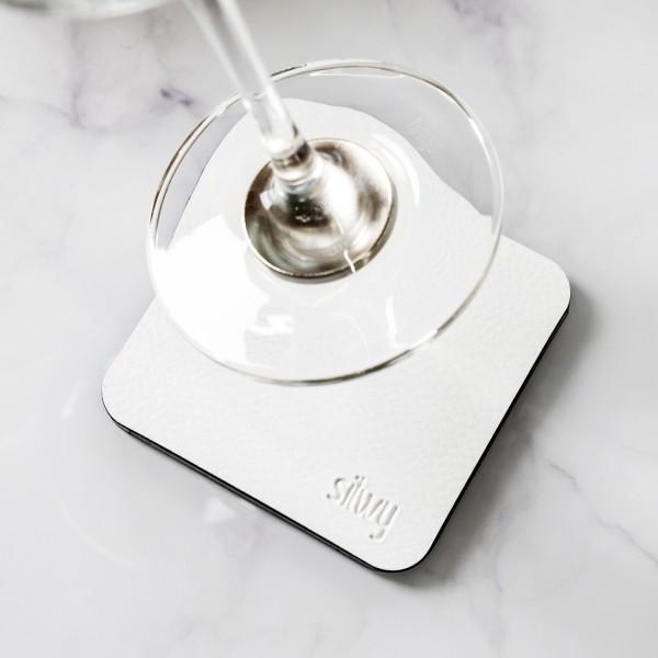 Metall-Nano-Gel-Untersetzer (eckig) WHITE für Magnetgläser