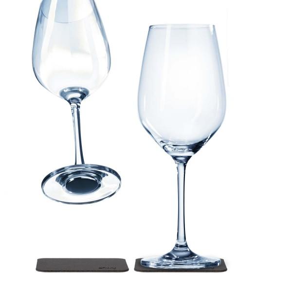Wein Vorteils-Set (2 Magnet-Weingläser + 2 Metall-Nano-Gelpads + Metall-Leiste 25 cm WHITE)