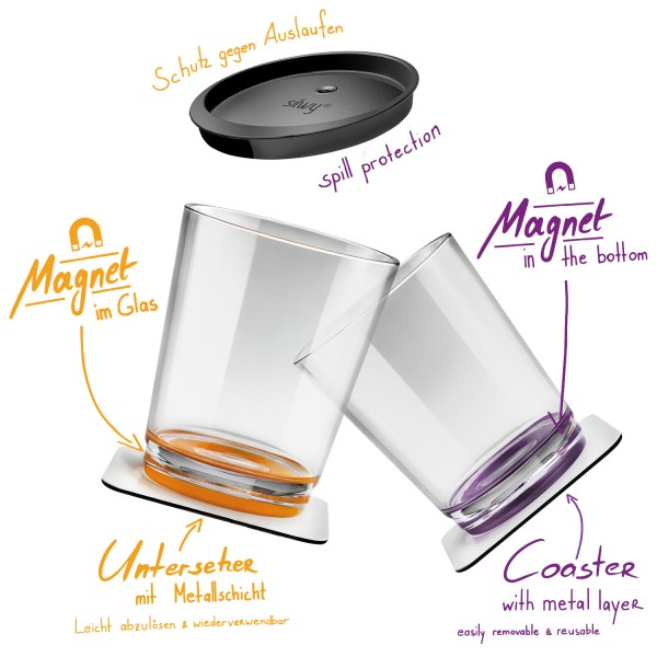 Metall-Nano-Gel-Untersetzer (eckig) BLACK für Magnetgläser