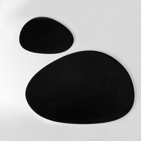 Metall-Nano-Gel-Platzset mittelgroß mit Leder-Coating BLACK