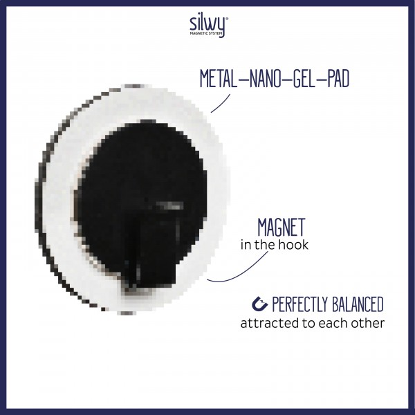 "Magnet-Haken ""CLEVER"" WHITE inkl. Metall-Nano-Gel-Pad BLACK"