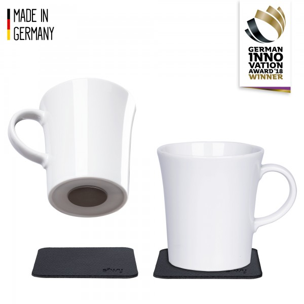 Porzellan Magnet-Henkel-Tassen inkl. Metall-Nano-Gel-Pads BLACK