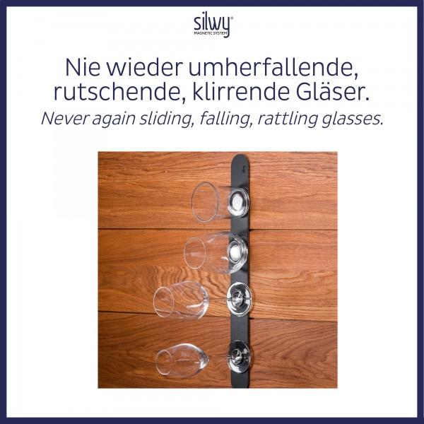 Metall-Leiste 50 cm BLACK für Magnetgläser